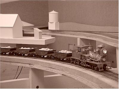 A string of ore cars being pulled by shay GDT #4