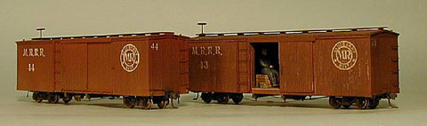 Two Moody River boxcars, one is scratch built, the other started life as a HO MDC 36' boxcar (MDC cars now come fully assembled from Athearn)