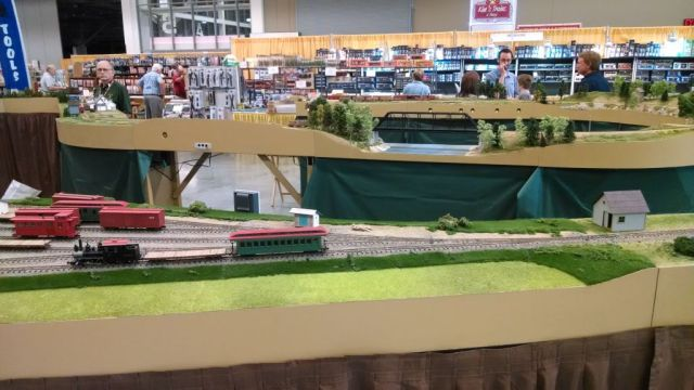 Looking across the layout, one can see three disinct part of the layout as it wrapped around.  In the foreground is Frank Knight's Alna, followed by David Keith's Salmon Hole Bridge, and finally David Keith's Bigelow module.  All scenes from the Maine 2-Footers.